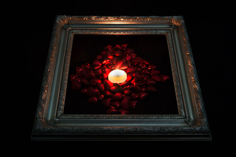 Candle in hearts Candle Love Valentine Valentine's Day  Black Background Candlelight Flame Hearts Illuminated No People Pattern Red Studio Shot