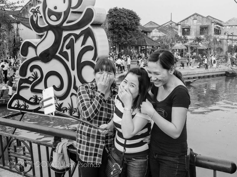 Julien Psomas Ancient City Black And White Blackandwhite Friend Friends Hoi An Hoian  Laugh Laughing Selfie Street Photography Streetphotography Vietnam