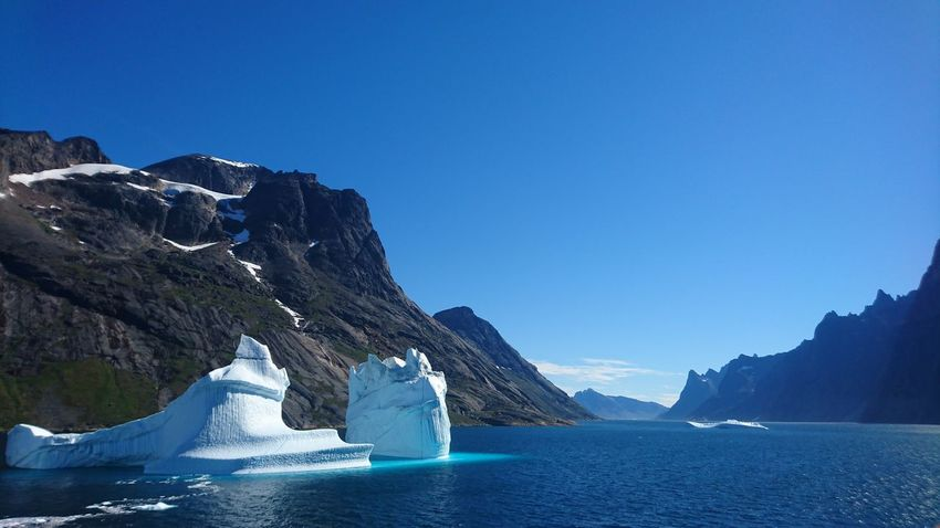 Icebergs Greenland Water Beauty In Nature Sky Fjord