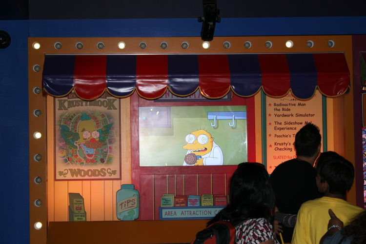 Waiting Area for the The Simpsons Ride, 2010 The Simpsons Ride Universal Studios  Waiting Area Waiting In Line Illuminated Indoor Simulation Indoors  Men Multi Colored Night Real People Universal Studios Hollywood Universal Studios Tour Virtual Reality Roller Coaster Ride
