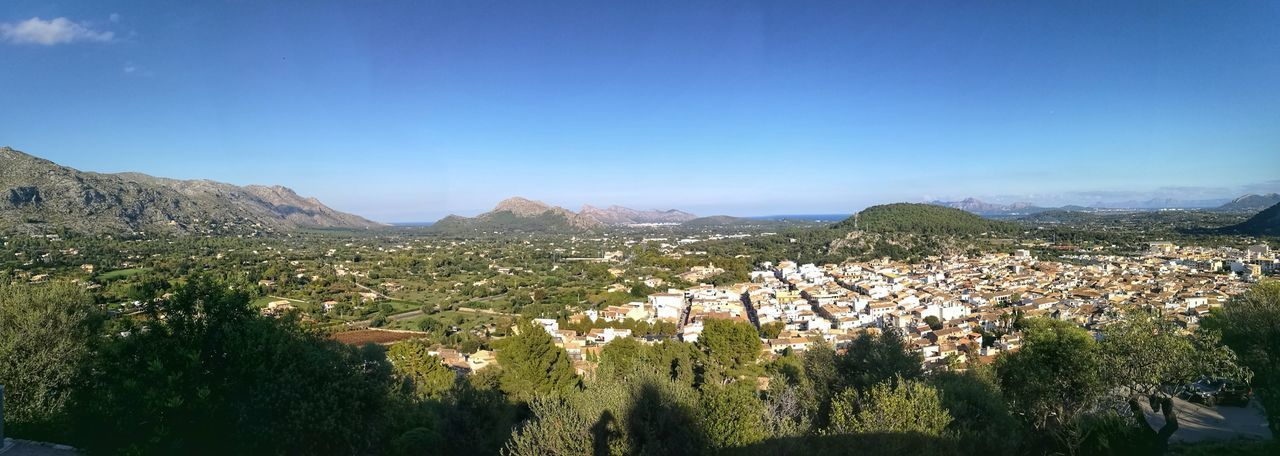Mallorca Panorama SPAIN Agriculture Architecture Beauty In Nature Blue Building Exterior Clear Sky Day Landscape Mountain Mountain Range Nature No People Outdoors Pollença Rural Scene Scenics Sky Town Tranquil Scene Tranquility Tree