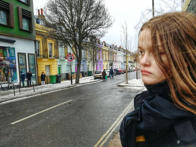 Snow Winter Young Adult Young Women London Pastel Colors Cute Houses Camden Town EyeEm Selects One Person Childhood Real People Day People Road Outdoors Child City Warm Clothing Sky