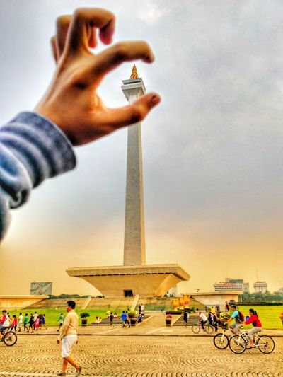 monas jakarta Large Group Of People People Adult Men Travel Destinations Built Structure Sand Adults Only Architecture Sky Outdoors Day Only Men Crowd Nature First Eyeem Photo