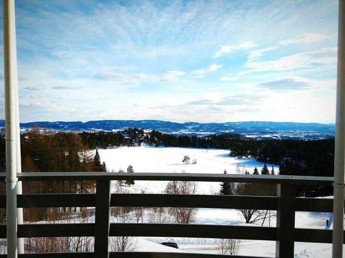 Trondheim Norway Balcony Snow Winter Relaxing Frozen Lake Fiords Sky Clouds