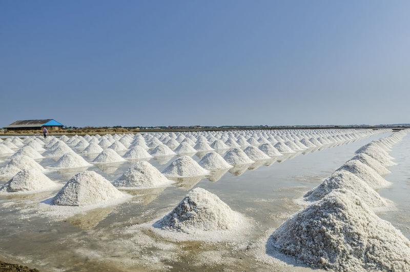 A pile of sea salt in the salt field at petchaburi, thailand