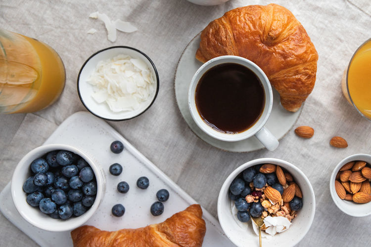 Top view of breakfast table with coffee, croissant, granola, nuts, berries and milk. Flat lay, healthy eating concept. Granola Food Breakfast Bowl Blueberry Berry Porridge Table Concept Top Flat Lay Ceramics Cereal Lifestyle Meal Holding Cotton Girl Vegan Oat Almond Chia Nuts Croissant Milk Directly  Above Two Juice Dessert Espresso Vegetarian Natural Organic Snack Sweet Muesli Yogurt View Background Seed Photography The Foodie - 2019 EyeEm Awards