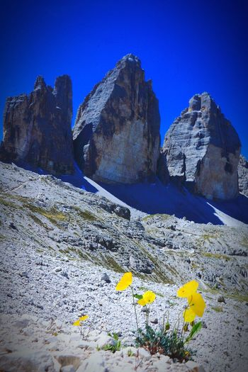 Tre Cime. Dolomiti Italy Dolomites, Italy Mountain Clear Sky Snow Rock - Object Milky Way Sky Landscape Mountain Range Rock Formation Rock Canyon Cliff Hiker Geology