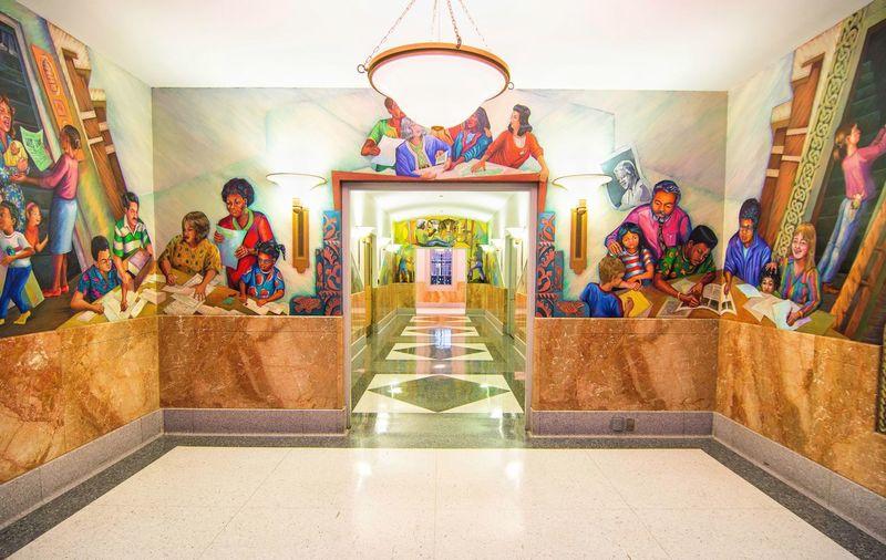 Chicago Library Top Floor Indoors  Multi Colored Statue No People Hallway Mural Mural Art Painting People People Paintings