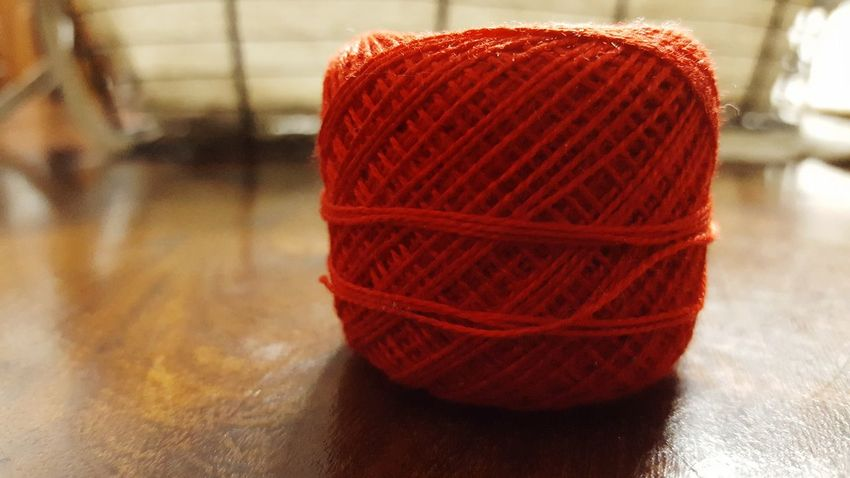 Wool Red Knitting Ball Of Wool Indoors  No People Close-up Knitting Needle Day