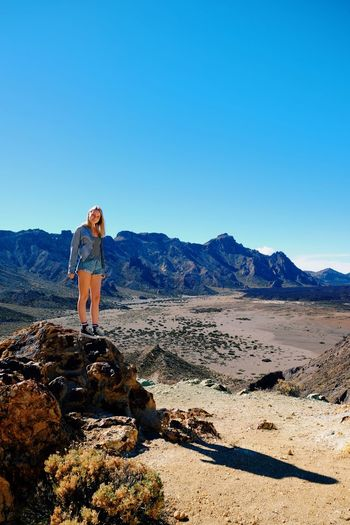 Canary Islands Tenerife Holiday Mountain View From Above Volcano Rock Blonde Girl Blonde Girl One Person Copy Space Mountain Clear Sky Outdoors Landscape Nature Blue Desert Beauty In Nature Real People Arid Climate Hiking Scenics Standing Day Adventure Young Adult Full Length Sky An Eye For Travel Go Higher