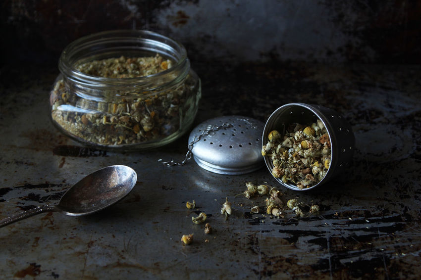 Herbal tea Chamomile Chamomile Tea Loose Tea Loose Tea Leaves Vintage Tea Dried Flowers Herb Rustic Dark Close Up Selective Focus Copy Space Indoors  Food Container Still Life No People Food And Drink Kitchen Utensil Table Ingredient Freshness Close-up Herbal Tea