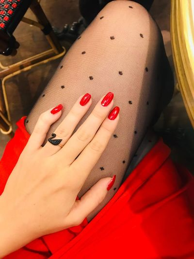 Red Sexylegs Legs Tights Red Color Nail Polish Red Human Hand Nail Human Body Part Hand Body Part Red Nail Polish Women Human Finger Finger Close-up Fashion Fingernail International Women's Day 2019