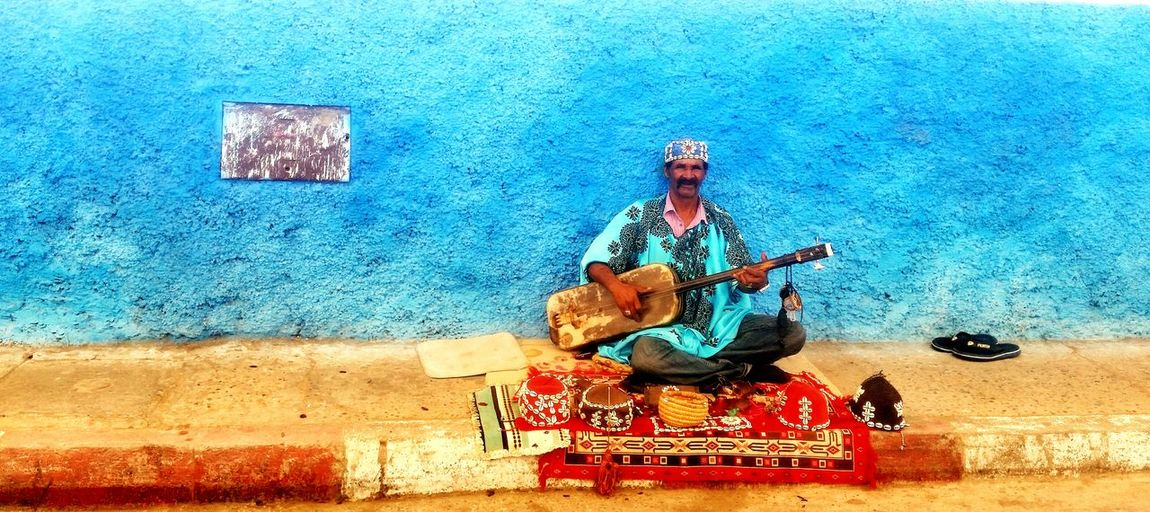Gnawa Music Oldman Beggarman Blue Color Happy Colors Street Music,