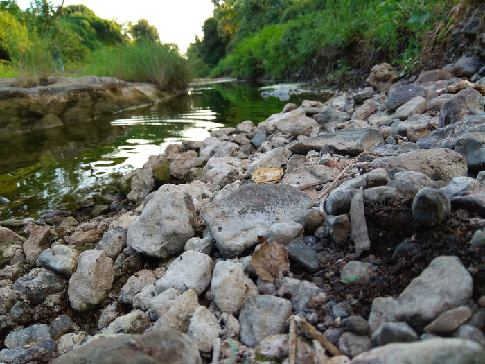 Surface level of stones in river