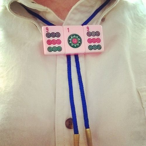 Rockin a Pink 919 Mahjongbolo today. My steez is Over9000 . If you live in the Raleigh Durham area, hit me up! The ties only cost $10, and I make them by hand with love in every stitch. mahjong handmade areacode bolotie shepbryan designmind stepyourstyleup stylegamestrong