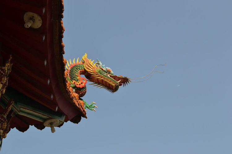 Architecture Blue Building Exterior Built Structure Chinese Dragon Clear Sky Cultures Day Decoration Dragon Dragon Head Low Angle View Multi Colored No People Outdoors Place Of Worship Religion Roof Sky Temple Tradition