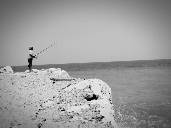 Moment Fishing Seaside Harbour Blackandwhite Bnw