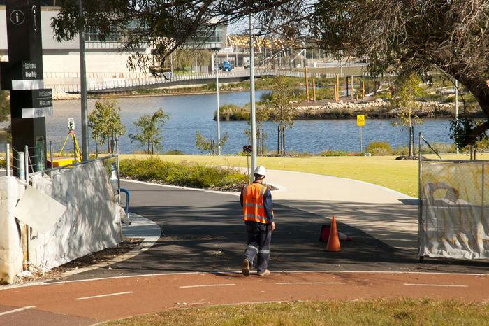 City Surveyor Australia City PPE Perth Helmet One Person Real People Reflective Clothing Survey Surveyor