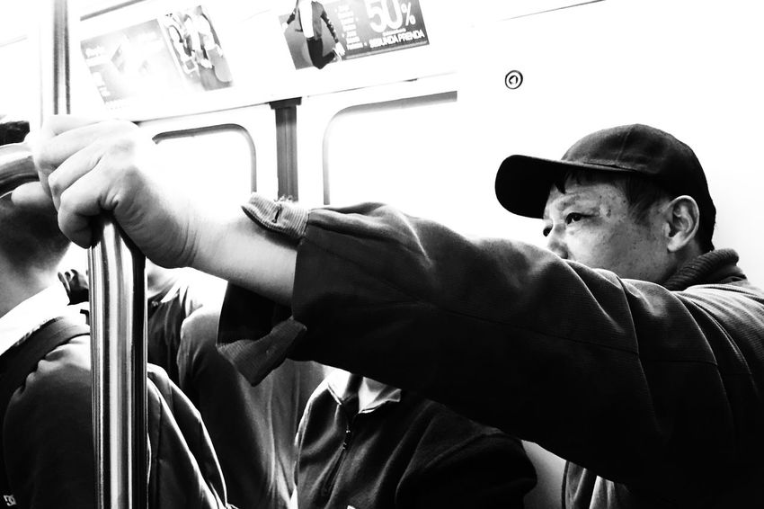 Thinking Real People Indoors  One Person Lifestyles Men Public Transportation Human Hand Close-up Only Men Day Human Body Part People