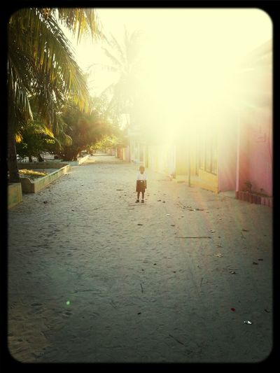 he is ready to go to school. early morning at Alif Dhaal Hangnaameedhoo.