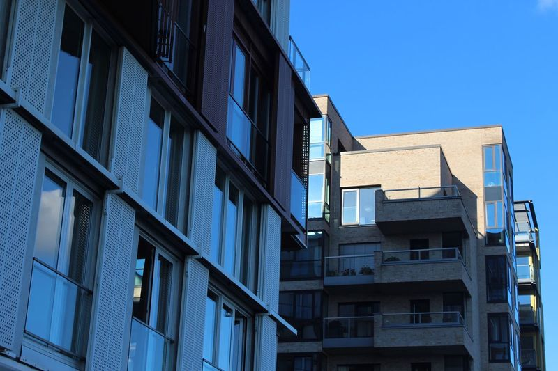 Building Exterior Architecture Built Structure Low Angle View Clear Sky Window Blue Sunlight Outdoors Day Residential Building No People Sky Future Architect at Hamburg in Germany