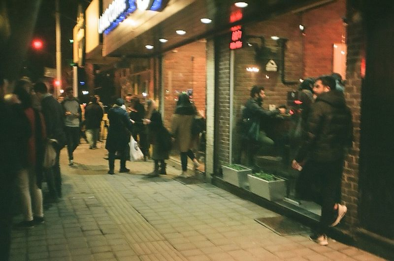 35mm Film Street Photography Street Night Illuminated Night Group Of People