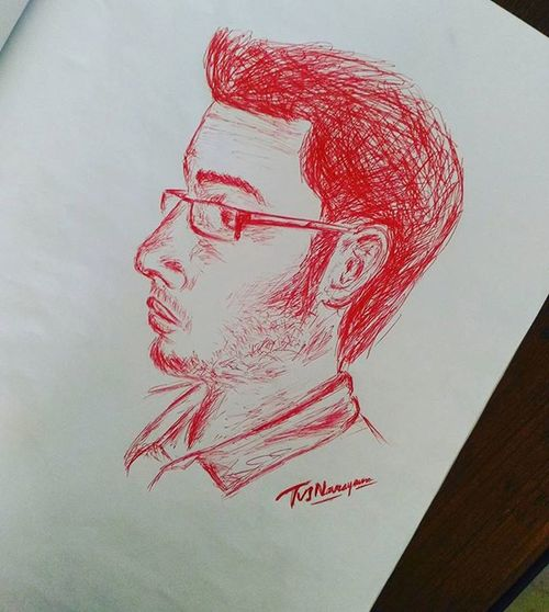 Timepass during the Analog communication class...portrait of my friend...with Pen shades.. 😊 🎨 Art Toptags Artist Artistic Artists Arte Dibujo MyArt ArtWork Illustration Graphicdesign Graphic Color Colour Colorful Painting Drawing Drawings Markers  Paintings Watercolour Ink Creative Sketch Sketchaday pencil