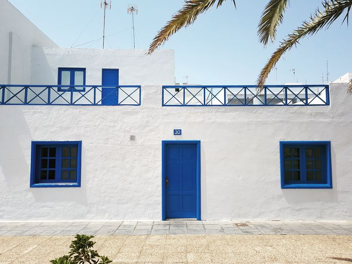 Architecture Building Exterior Built Structure Window Day Outdoors No People Façade Sky Lanzarote Lanzarote Island Canary Islands Canary SPAIN House Arrecife Architecture Blue White Symmetry Travel Holiday Summer