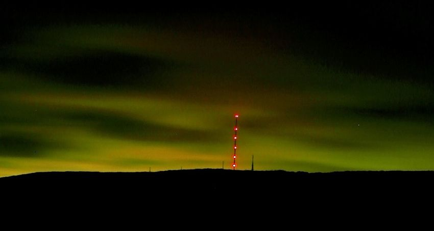 Aurora Winter Hill Lancashire Communications Tower Dark Night Green Clouds Television Mast Check This Out At 4am