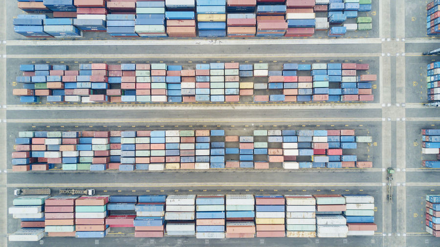 Aerial view of cargo container at port