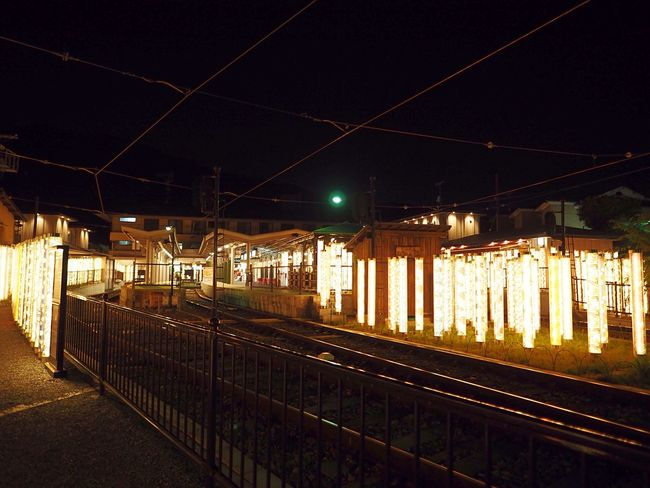 Kyoto Japan Arashiyama Randen Station Night Summer Olympus PEN-F 京都 日本 嵐山 嵐電 駅 夜 夏