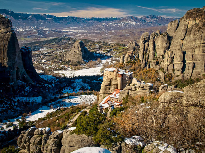 Beauty In Nature Built Structure Geology Hill Idyllic Kalambaka Landscape Meteora Monasteries Monestary Mountain Mountain Range Nature Non-urban Scene Outdoors Physical Geography Rock Rock Formation Rocky Rocky Mountains Scenics Sky Town Tranquil Scene Tranquility Valley