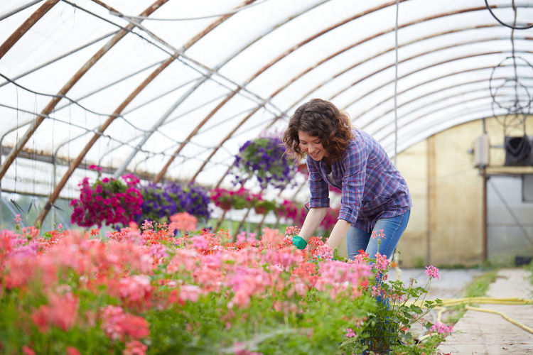 Smiling woman working in greenhouse