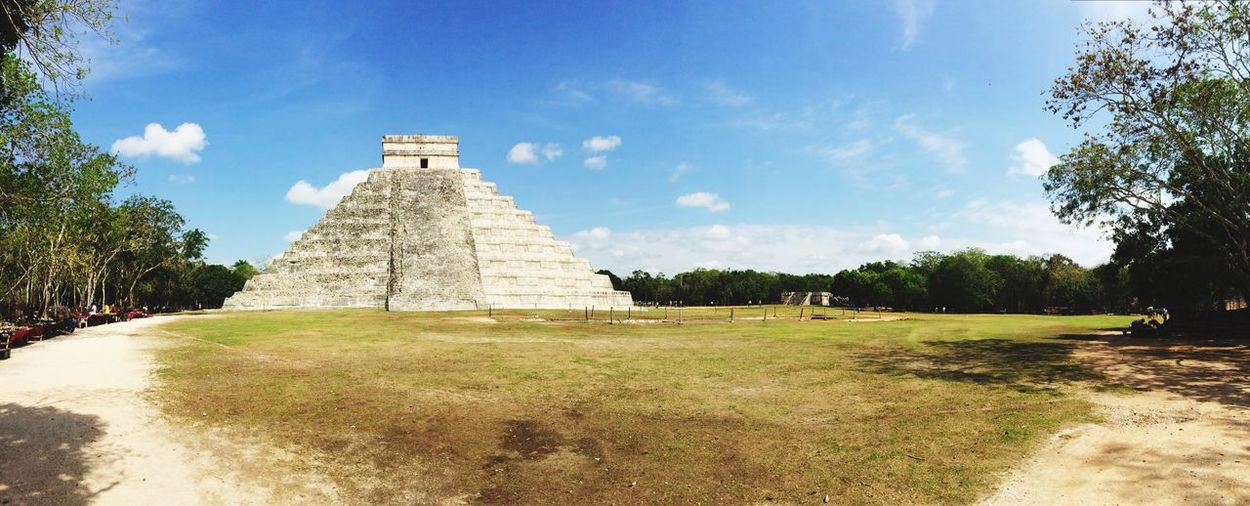 Panoramic View Of Old Ruins At Chichen Itza