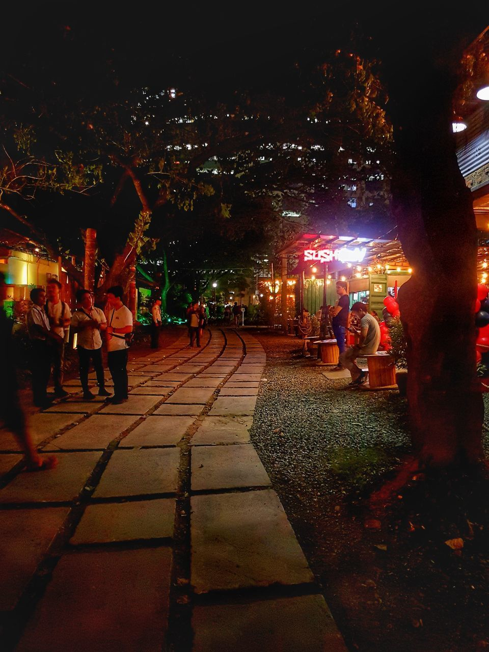 night, large group of people, real people, illuminated, leisure activity, outdoors, men, enjoyment, women, built structure, tree, city, lifestyles, building exterior, architecture, crowd, sky, people, adult