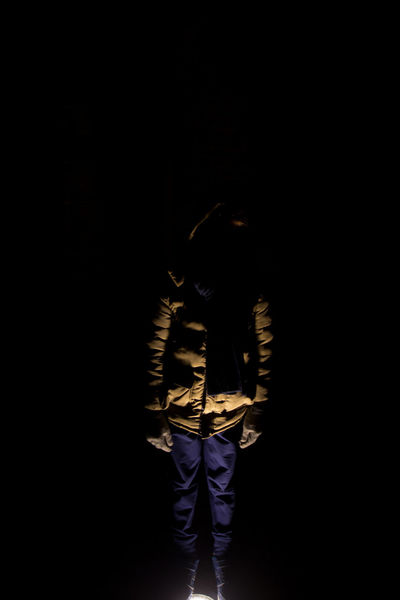 Ghostly holiday Horror Light And Shadow Cold Night One Person Full Length Adult One Man Only People Adults Only Only Men Human Body Part Black Background Outdoors