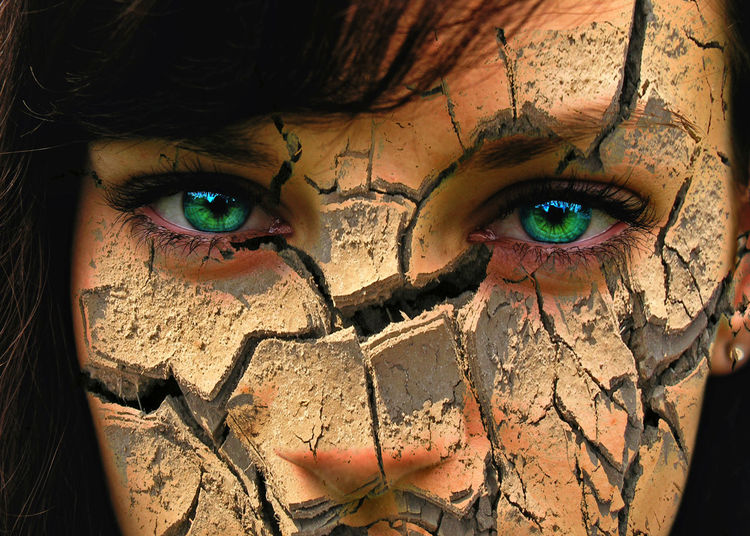 Woman with cracked skin Abstract Africa Age Arid Climate Beautiful Beauty Burnout Cosmetics Cracks Desert Die Dry Dryness Enjoying Life Environment Face Folds Girl Health Ill Psychology Rough Skin Textured  Woman