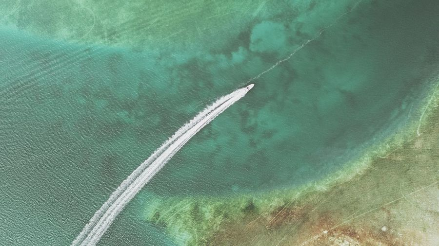 Florida Keys Aerial Water Water Sea Aerial View Nautical Vessel Close-up Green Color Wake - Water Speedboat Jet Boat Boat Motorboat Wake Water Vehicle Turquoise Colored Coral