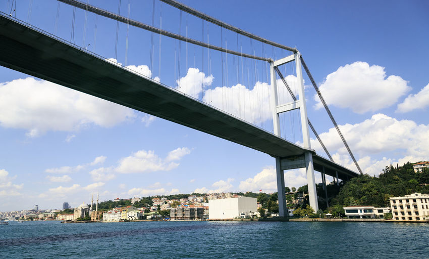 Low angle view of bosphorus bridge over river