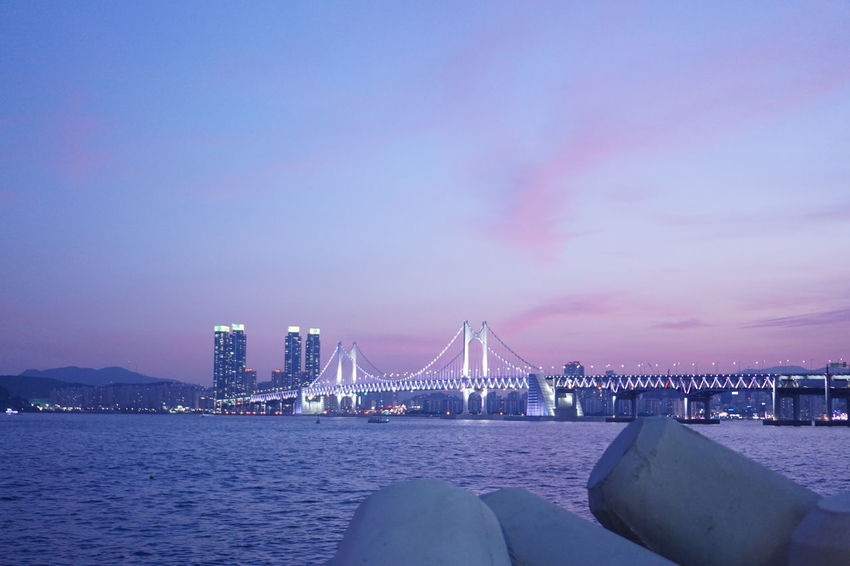 Cityscape Korea Nature Nature Photography Snapshots of Life Sunset_collection Architecture Bay Bridge Built Structure Busan City Cloud - Sky Landscape Nature Purple Sea Sea And Sky Seascape Sky Sony Sunset Water