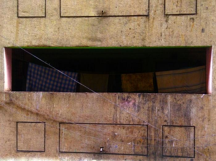 India Laundry Mumbai Architecture Brutalism Building Exterior Built Structure Concrete Corridor Day Govandi Mmrda No People Sheets Slum Slums