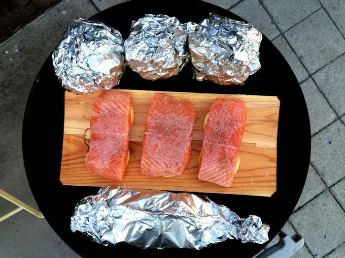 Directly above shot of salmon on cutting board