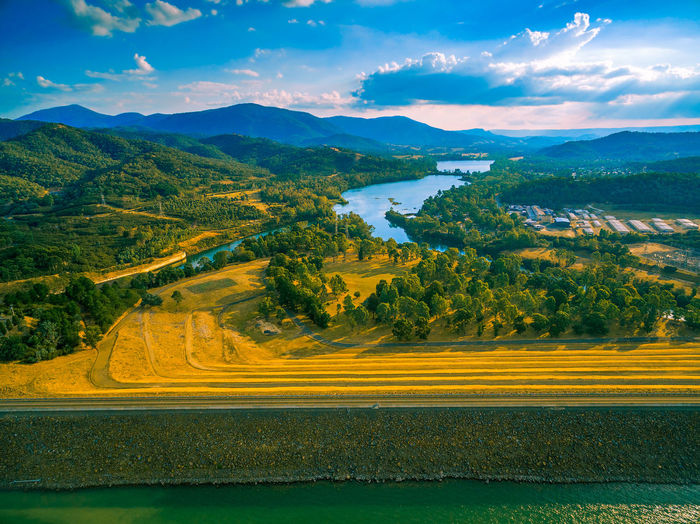 Aeril view of Eildon dam and Goulburn river at sunset Australia Australian Landscape Beautiful Breathtaking Drone  Panorama Panoramic Scenic Aerial View Agriculture Beauty In Nature Cloud - Sky Day Drone Photography Eildon Field Lake Landscape Mountain Mountain Range Nature No People Outdoors Rural Scene Scenics Sky Sunset Tranquil Scene Tree