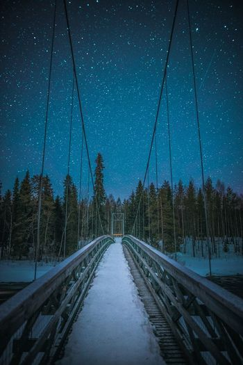 Night walk Hanging Out Check This Out Taking Photos Enjoying Life Travel Destinations Travel Freshness Scenics Horizon Camping Arctic Circle Photography Scenery Clear Sky Nightphotography Landscape_Collection Landscape Nature Photography Nature_collection Walking River Wood Material Bridge Bridge - Man Made Structure Forest Star - Space Star Springtime Explore Atmospheric Mood Hiking Outdoors Track Tranquil Scene Scenics - Nature Night Cable Plant No People Nature Tree Diminishing Perspective Sky Direction Connection The Way Forward Snow Cable-stayed Bridge Lapland Wilderness