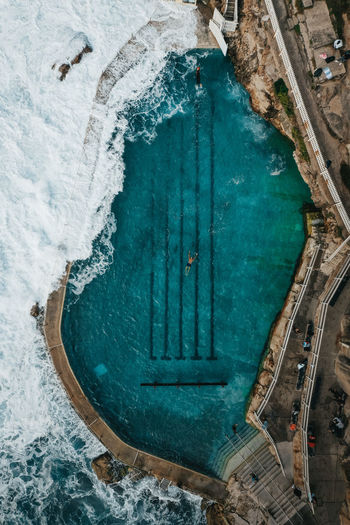High angle view of frozen swimming pool