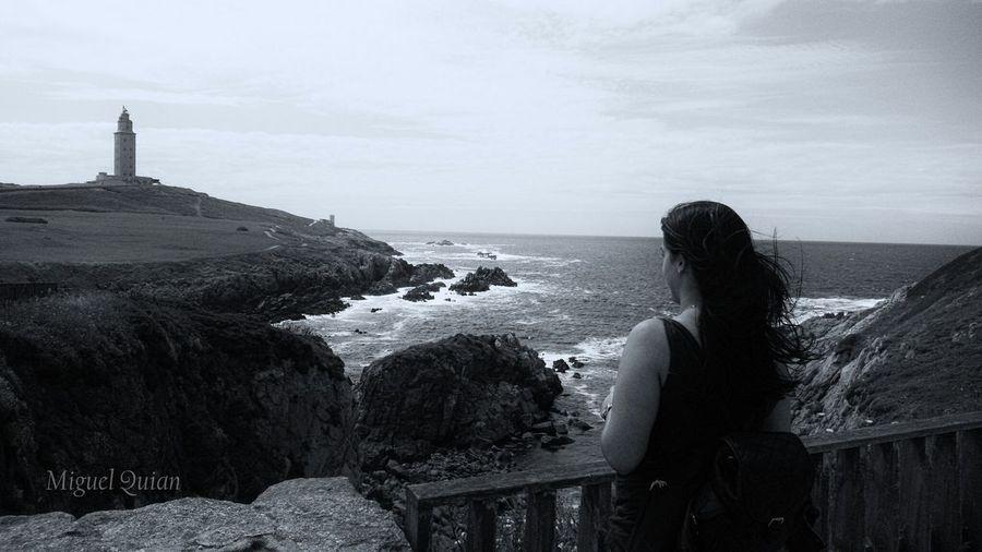 Aida mirando la Torre... Black & White Monochrome Blanco Y Negro Blackandwhite Lighthouse Galicia