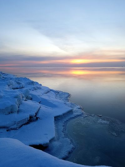 Water Sea Cold Temperature Sunset Astronomy Beach Snow Frozen Water Blue Polar Climate