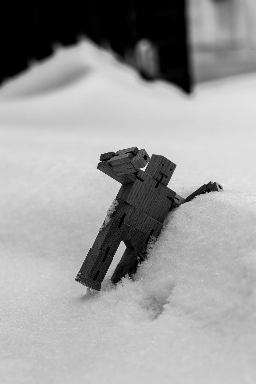 snow, cold temperature, winter, toy, no people, day, childhood, outdoors, nature, close-up