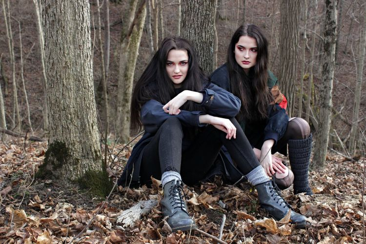 Twins High Fashion Woods Nature Grunge