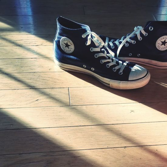 Shoes Converse Fashion Sunshine Shadow Sunlight Pair Things That Go Together Footwear Shoe Wooden Floor